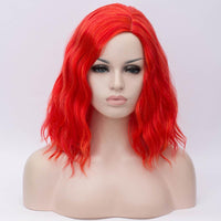 Bright red medium length curly wig without fringe by Shiny Way Wigs Sydney