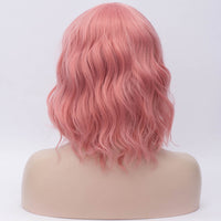 Light pink medium length curly wig by Shiny Way Wigs Brisbane QLD