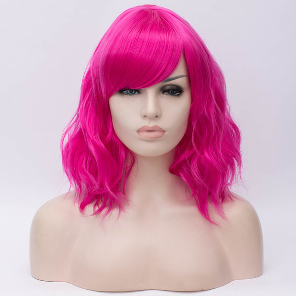 Hot pink medium length curly wig by Shiny Way Wigs Adelaide Australia