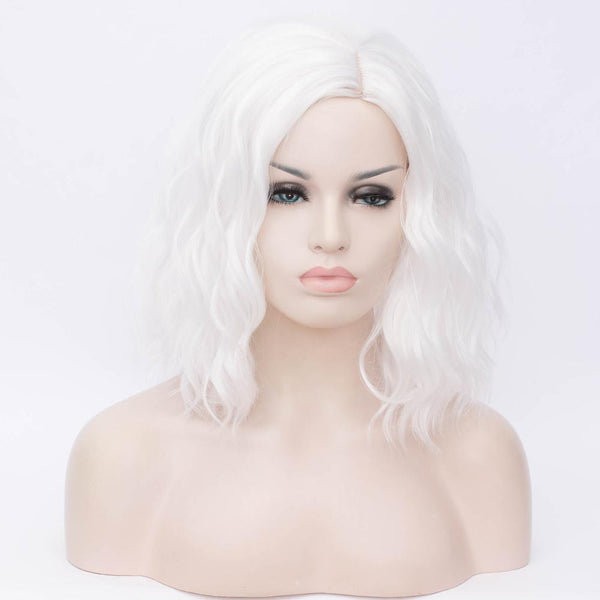 White medium length curly wig without fringe by Shiny Way Wigs Adelaide SA