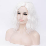 White medium length curly wig without fringe by Shiny Way Wigs Adelaide