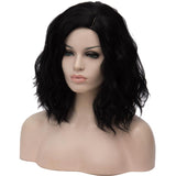Natural black medium length curly wig without fringe by Shiny Way Wigs Brisbane