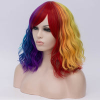 Rainbow color medium curly side fringe wig by Shiny Way Wigs Melbourne