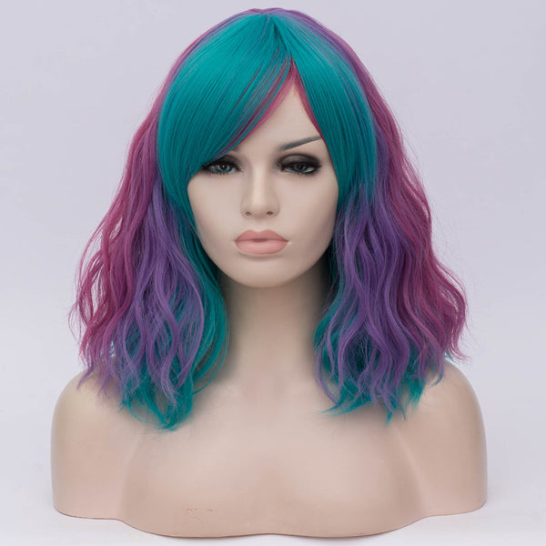 Multi color medium curly side fringe wig by Shiny Way Wigs Adelaide SA