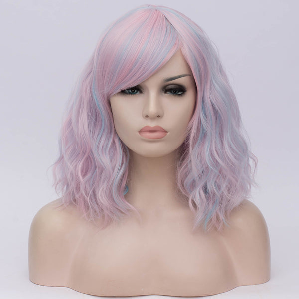 Fade pale pink medium curly side fringe wig by Shiny Way Wigs Adelaide