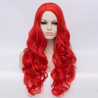 Natural hot red long curly wig without fringe by Shiny Way Wigs Brisbane