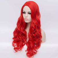 Natural hot red long curly wig without fringe by Shiny Way Wigs Gold Coast QLD