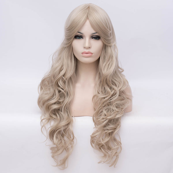 Natural blonde long curly fashion wig by Shiny Way Wigs Perth