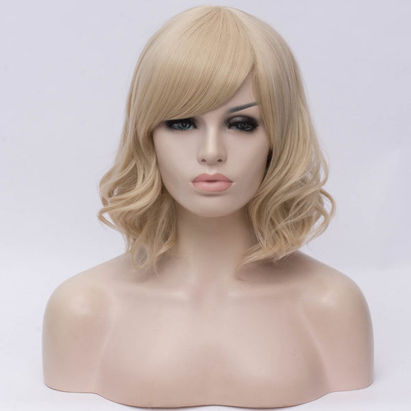 Natural blonde medium curly side fringe wig by Shiny Way Wigs Sydney NSW
