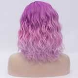 Fade purple medium length curly wig by Shiny Way Wigs Perth WA