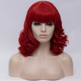 Dark red medium length curly wig by Shiny Way Wigs Melbourne VIC