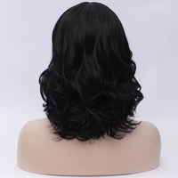 Natural black medium length curly wig by Shiny Way Wigs Melbourne VIC