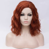 Natural red orange medium curly middle part wig by Shiny Way Wigs Adelaide