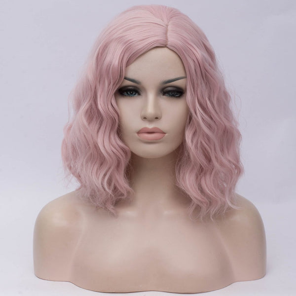 Natural light pink medium curly middle part wig by Shiny Way Wigs Sydney