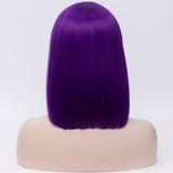 Natural dark purple full fringe medium bob wig by Shiny Way Wigs Perth WA