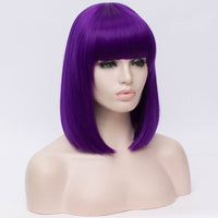 Natural dark purple full fringe medium bob wig by Shiny Way Wigs Sydney NSW