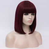 Natural wine red full fringe medium bob wig by Shiny Way Wigs Perth WA