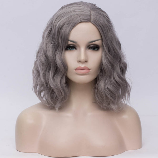 Natural grey medium curly middle part wig by Shiny Way Wigs Brisbane QLD