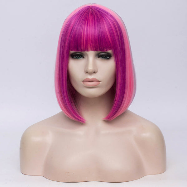 Multi pink color medium bob costume wig by Shiny Way Wigs Perth WA
