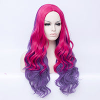 Pink / purple long middle part curly wig by Shiny Way Wigs Perth WA