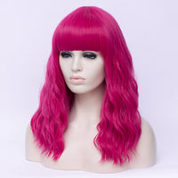 Hot pink long curly full fringe wig by Shiny Way Wigs Adelaide SA