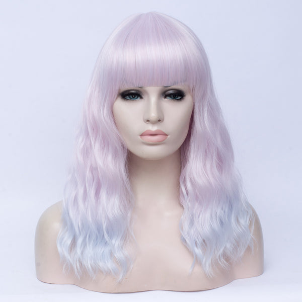Fade pale pink long curly full fringe wig by Shiny Way Wigs Adelaide
