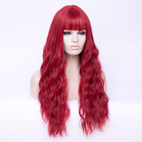 Hot red full fringe fashion long curly wig - Shiny Way Wigs Brisbane QLD