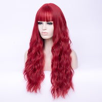Hot red full fringe fashion long curly wig - Shiny Way Wigs Brisbane