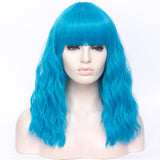Sky blue long curly full fringe wig by Shiny Way Wigs Adelaide SA