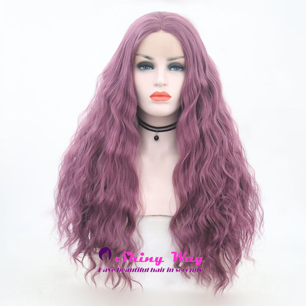 Dark Purple Long Curly Lace Front Wig - Shiny Way Wigs Adelaide