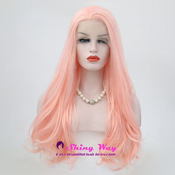 Pale Pink Natural Long Curly Lace Wigs - Shiny Way Wigs Sydney
