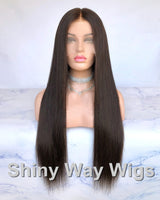 Long Dark Brown Virgin Human Hair Lace Wig - Shiny Way Wigs Sydney