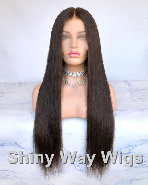 Super Long Dark Brown Virgin Human Hair Lace Wig - Shiny Way Wigs Sydney
