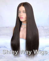 Super Long Dark Brown Virgin Human Hair Lace Wig - Shiny Way Wigs Sydney NSW