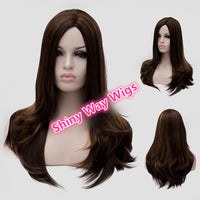 Natural dark brown middle part long wavy wig by Shiny Way Wigs Perth
