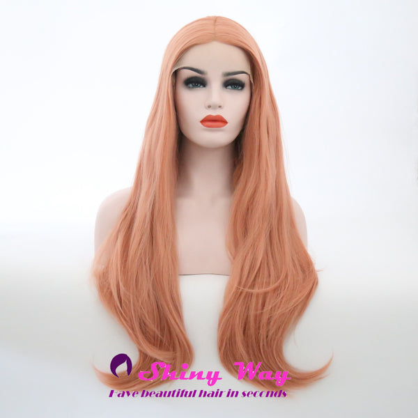 Light Pink Long Wavy Lace Front Wig - Shiny Way Wigs Sydney