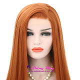 Red Orange Long Silk Straight Lace Front Wigs - Shiny Way Wigs Sydney