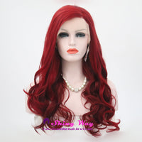 Bright Red Natural Long Curly Lace Front Wigs - Shiny Way Wigs Perth