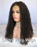 Dark Brown Tight Curly Virgin Human Hair Lace Wig - Shiny Way Wigs Adelaide SA