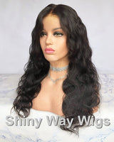 Natural Black Body Wavy Virgin Human Hair Lace Wig - Shiny Way Wigs Brisbane QLD