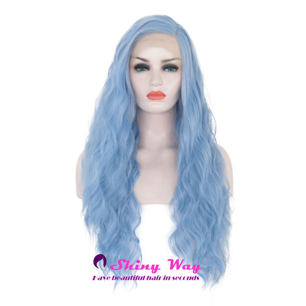 Deep Blue Natural Long Curly Lace Front Wigs - Shiny Way Wigs Adelaide
