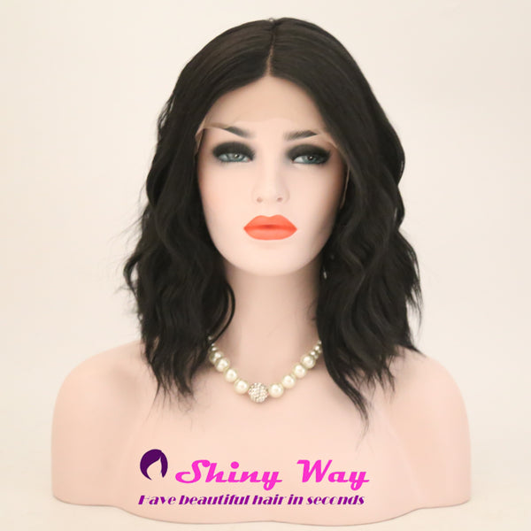 Natural Black Short Wavy Lace Front Wig - Shiny Way Wigs Melbourne