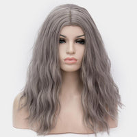 Dark grey long curly wig without fringe at Shiny Way Wigs Brisbane QLD