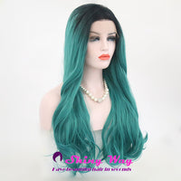 Green Color with Dark Roots Long Wavy Lace Wig at Shiny Way Wigs AU