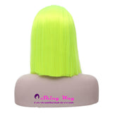 Bright Lime Medium Length Straight Lace Wig - Shiny Way Wigs Brisbane