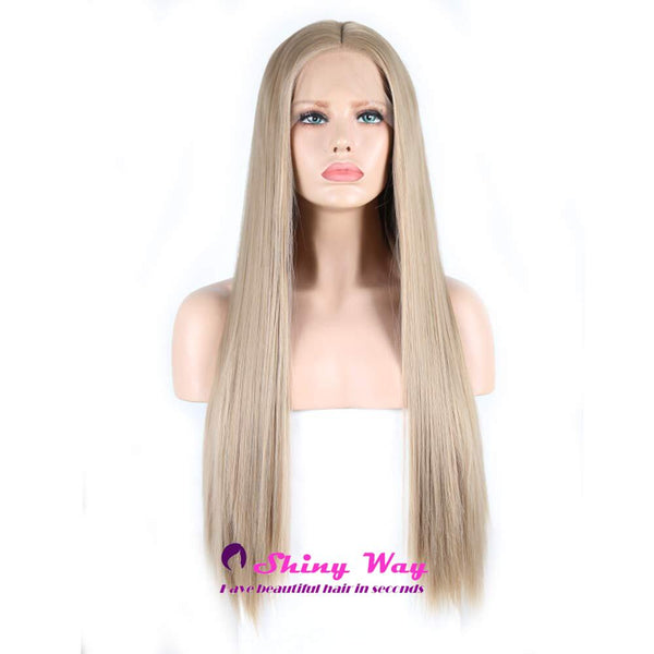 Ash Blonde Long Silk Straight Lace Front Wig - Shiny Way Wigs Adelaide