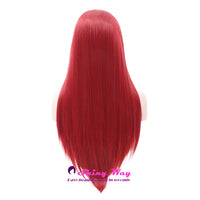 Hot Red Long Silk Straight Lace Front Wigs - Shiny Way Wigs Sydney