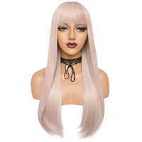 White pinky long straight silk wig by Shiny Way Wigs Melbourne