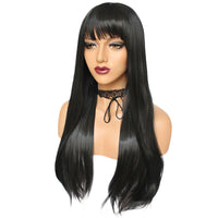 Natural black long straight silk wig by Shiny Way Wigs Adelaide