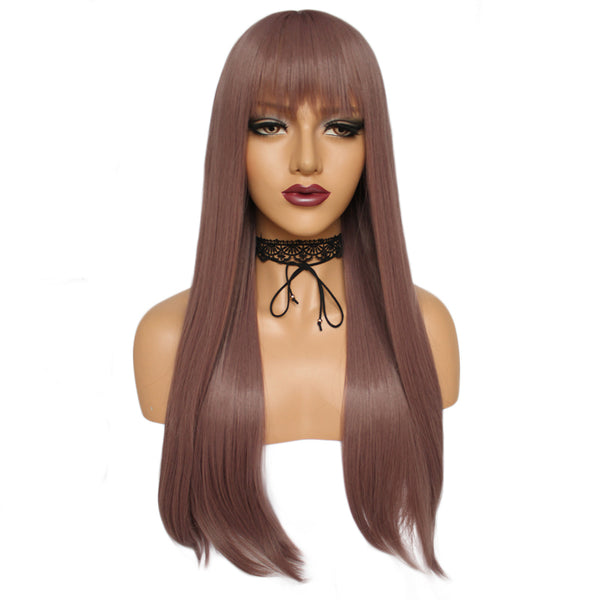 Natural silk long straight fashion wig by Shiny Way Wigs Perth